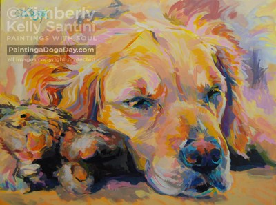 """Snuggle Bunny, Finished!!"" original fine art by Kimberly Santini"