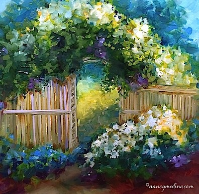"""White Rhapsody Rose Arbor"" original fine art by Nancy Medina"