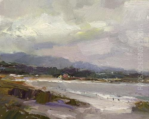 """Carmel Beach – Grey Day Beauty"" original fine art by Roos Schuring"