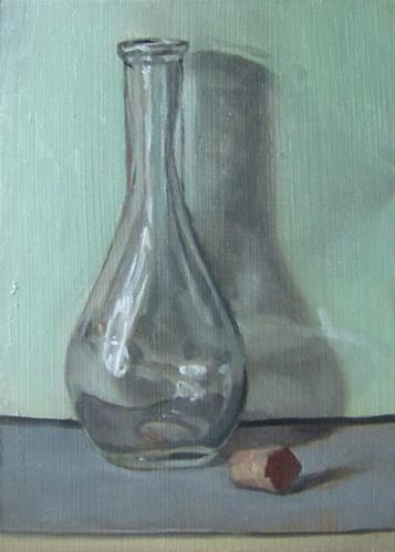 """31 -- Bottle on Green"" original fine art by Ed Watson"