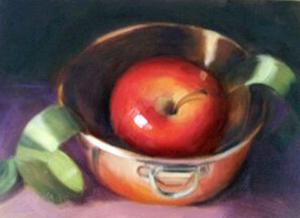 """Apple and Copper Bowl"" original fine art by Cindy Haase"