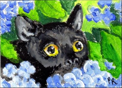 """Black Cat in the Blue Hydrangea"" original fine art by Patricia Ann Rizzo"