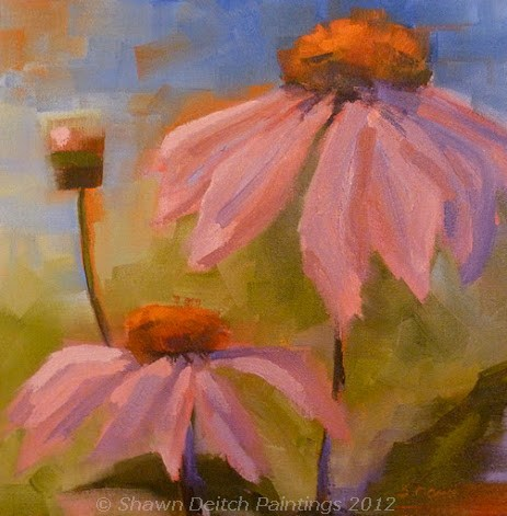 """Purple Coneflowers"" original fine art by Shawn Deitch"