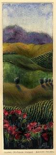 """Monotype: Central California Vineyard"" original fine art by Belinda Del Pesco"