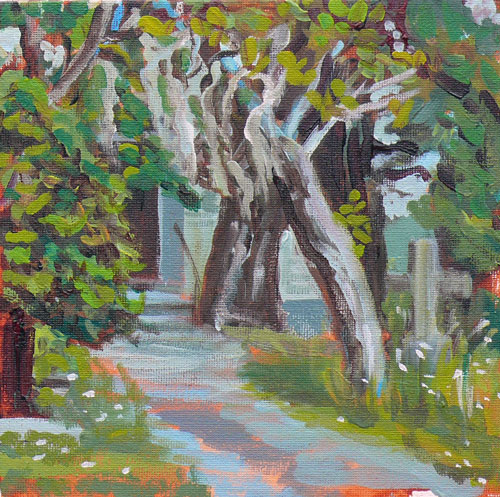 """Little Old Church Yard"" original fine art by Darlene Young"