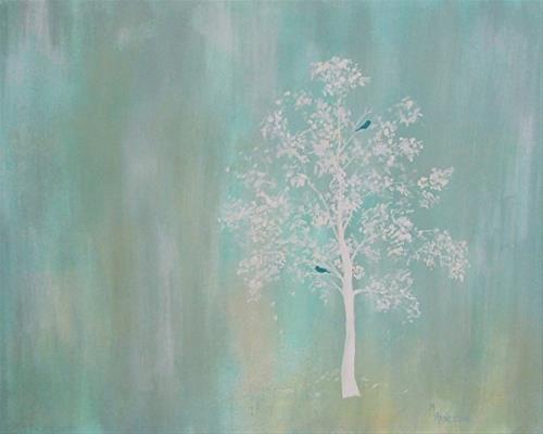 """""""Contemporary Bird Art,Tree Painting Just the Two of Us by Mary Arneson Art-Works of Whimsy"""" original fine art by Mary Arneson"""