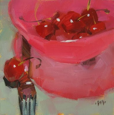 """Pink Plastic Bowl"" original fine art by Carol Marine"