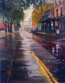 """Occidental Park  Seattle city scenes, cityscape oil painting"" original fine art by Robin Weiss"