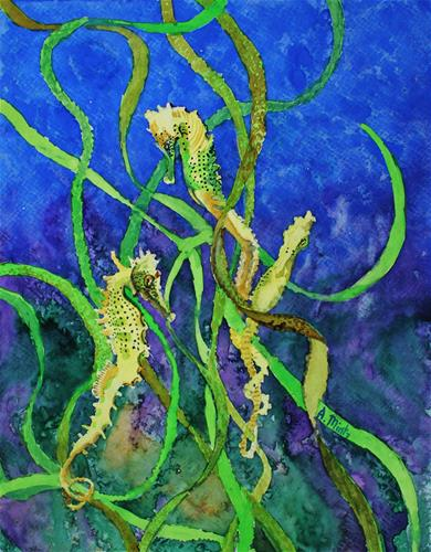 """Seahorses and Seaweed I"" original fine art by Alan Mintz"
