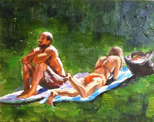 """""""A couple on the grass,A8"""" original fine art by Run-      Zhang Zane"""