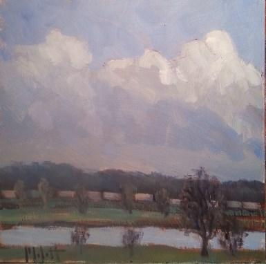"""""""Train Cars Railroad Painting"""" original fine art by Heidi Malott"""