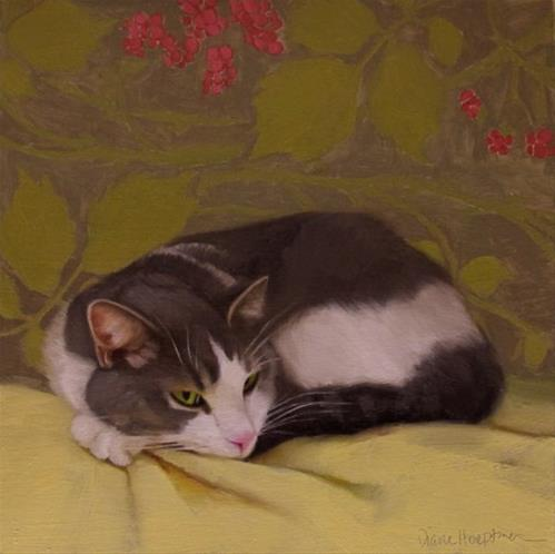 """Hazel the sleepy cat"" original fine art by Diane Hoeptner"