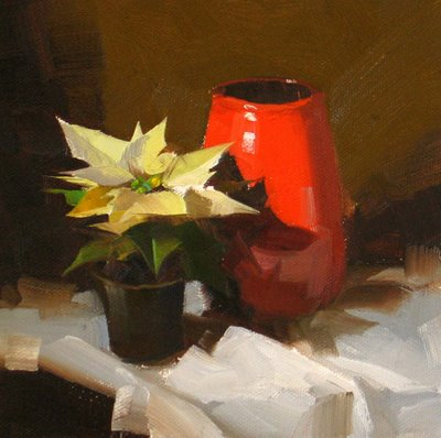 """Baby Poinsettia --- Sold"" original fine art by Qiang Huang"