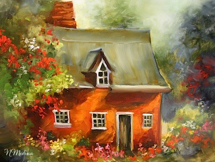 """Sunset Cottage Garden by Texas Flower Artist Nancy Medina"" original fine art by Nancy Medina"