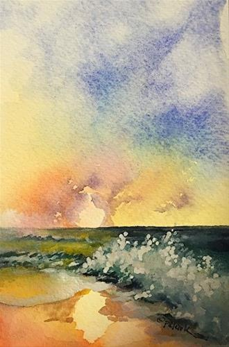 """Wave Study 13, 4 x 6,  Watercolor, Seascape"" original fine art by Donna Pierce-Clark"