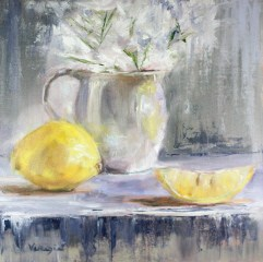 """original painting still life with white cup and lemons"" original fine art by Carrie Venezia"