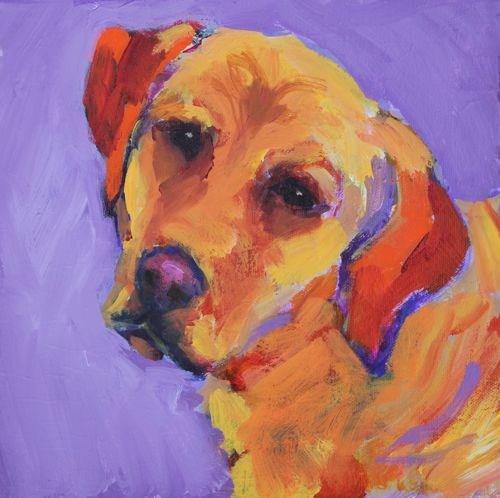 Good Girl Contemporary Dog Portrait by Arizona Artist Amy Whitehouse original fine art by Amy Whitehouse