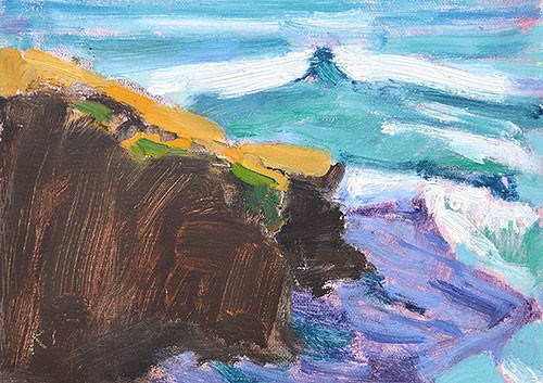 """Ocean Beach Cliffs 2"" original fine art by Kevin Inman"