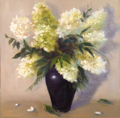 """Hydrangeas in White"" original fine art by Pat Fiorello"