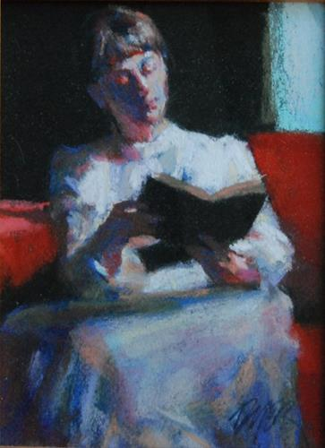 """A Book by the Window"" original fine art by Margaret Dyer"