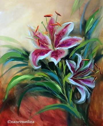 """Next to My Heart Stargazer Lilies - Flower Paintings by Nancy Medina"" original fine art by Nancy Medina"