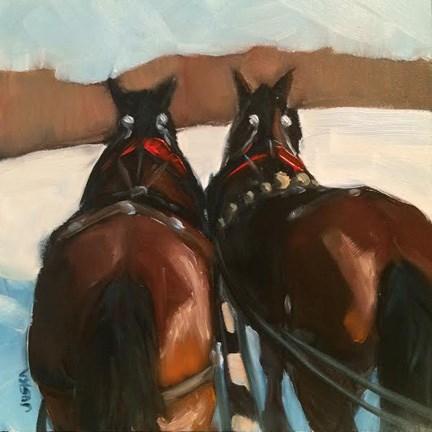 """Sleigh Team"" original fine art by Elaine Juska Joseph"