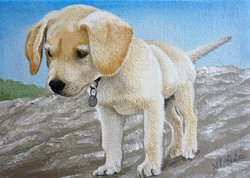 """Yellow Lab Puppy"" original fine art by Catherine Al-Rubaie"