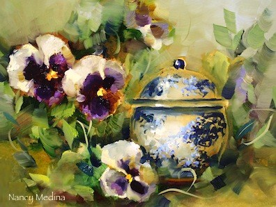"""Sugar Bowl Pansies"" original fine art by Nancy Medina"