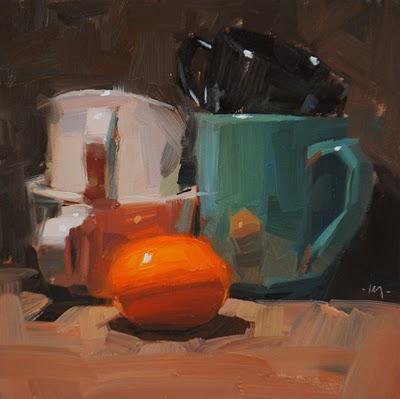 """Orange Stacks"" original fine art by Carol Marine"