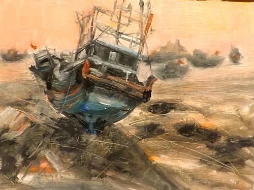 """sailing boat,j2"" original fine art by Run-      Zhang Zane"