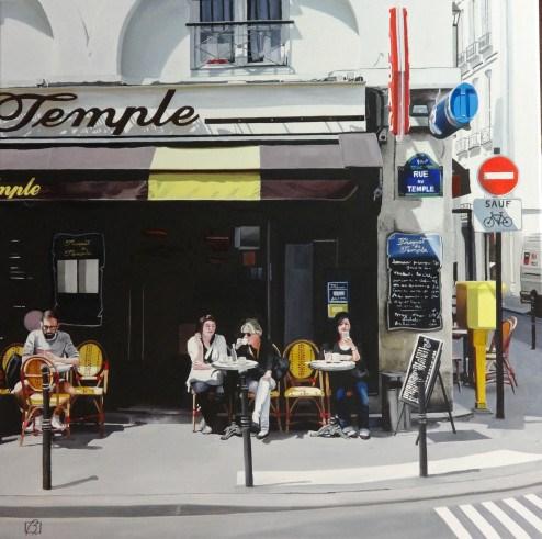 """""""Cafe Le Troquet du Temple"""" original fine art by Andre Beaulieu"""