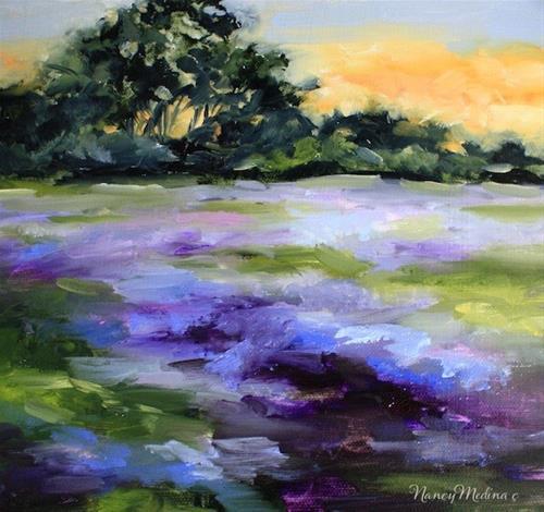 """Bluebonnet Sunset by Texas Flower Artist Nancy Medina"" original fine art by Nancy Medina"