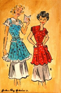 Vintage Housewives, 2 original fine art by Joanne Perez Robinson