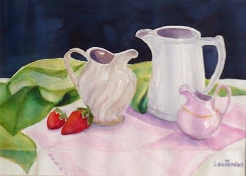 """Watercolor Still Life Painting Little Pink Pitcher by New Orleans Artist Lou Jordan"" original fine art by Lou Jordan"