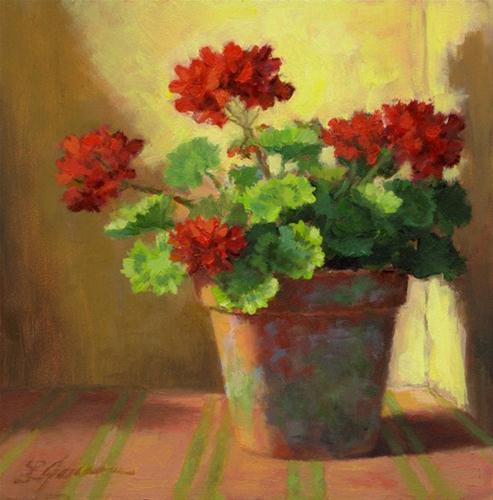 """Sunlit Geraniums"" original fine art by Linda Jacobus"