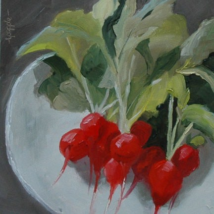 """RADISHES"" original fine art by Linda Popple"