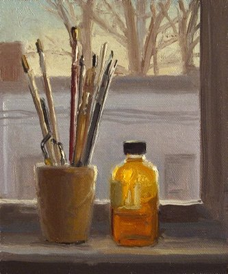 """Brushes and Stand Oil on a Sill, Evening"" original fine art by Abbey Ryan"