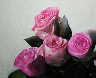 """Pink Roses"" original fine art by Jonathan Aller"