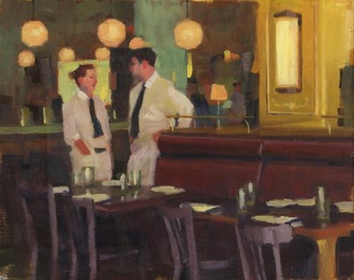 """Waiters waiting"" original fine art by Kathy Weber"