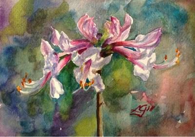 """Day 22 - Honeysuckle Azalea"" original fine art by Lyn Gill"