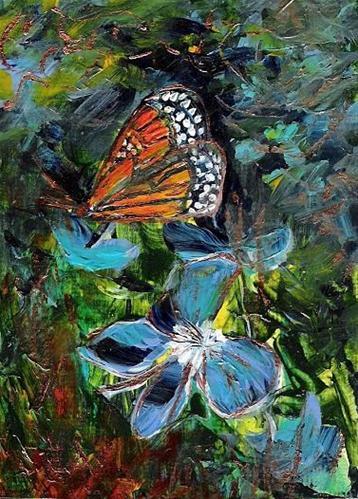"""""""3039 - BUTTERFLY FLOWERS - ACEO Series"""" original fine art by Sea Dean"""