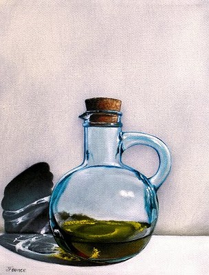"""Olive Oil Flask"" original fine art by Jelaine Faunce"
