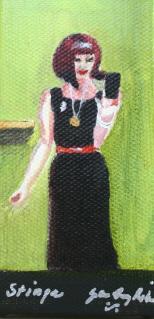 """Stinga checking her Look Box"" original fine art by JoAnne Perez Robinson"
