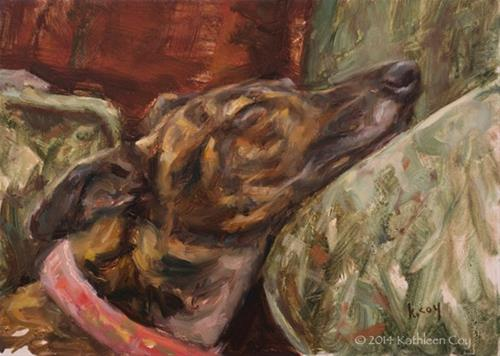 """""""Day 11 - Greyhound"""" original fine art by Kathleen Coy"""