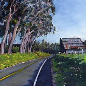"""Barn and Eucalyptus Trees"" original fine art by Mariko Irie"