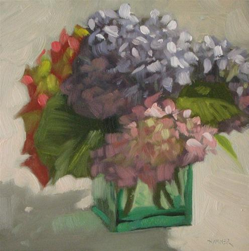 """Hydrangea bouquet 6x6  iuk"" original fine art by Claudia Hammer"
