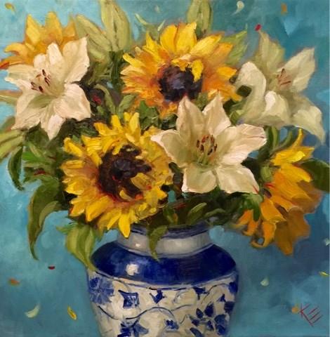 """Sunflowers & Stargazers"" original fine art by Krista Eaton"