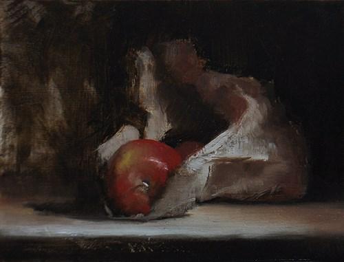 """Apples in Paper Bag #1"" original fine art by Neil Carroll"