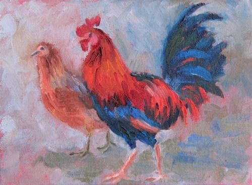 """Patzcuaro Strutters"" original fine art by Pam Holnback"