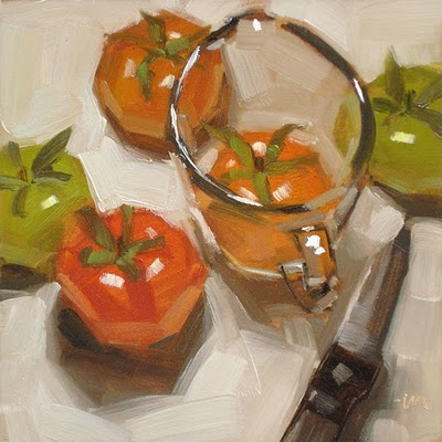 """Measured Tomatoes"" original fine art by Carol Marine"